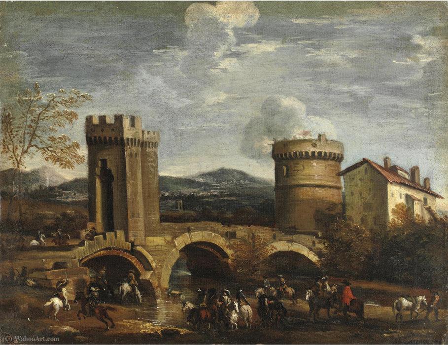 Wikioo.org - Encyklopedia Sztuk Pięknych - Malarstwo, Grafika Pandolfo Reschi - Battle scene from a bridge