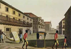 Liveried slaves carrying a sedan chair Brazil from Le Costume Ancien et Moderne