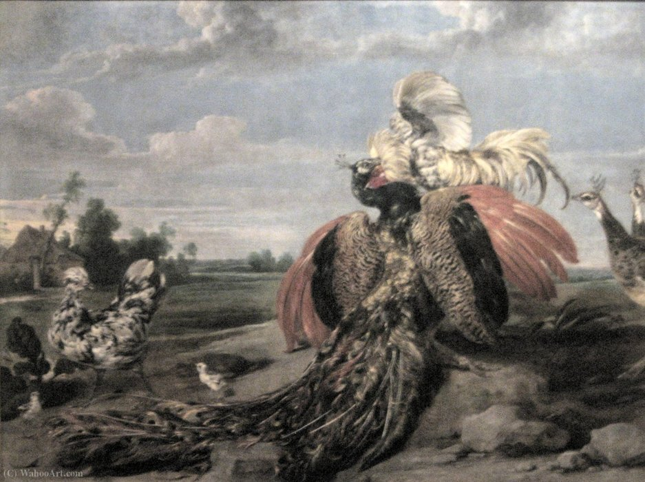 Wikioo.org - The Encyclopedia of Fine Arts - Painting, Artwork by Paul De Vos - Peacock and Cock Fighting