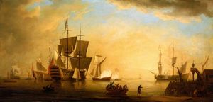 An English Flagship and Other Vessels Becalmed at Sun Down