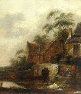 A River Scene with Figures