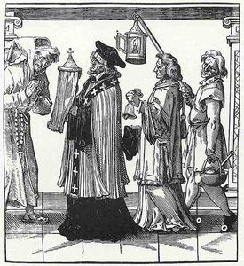 La jerarquía de la iglesia, sacerdote, diácono y desorden asistente