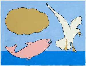 Bird fish cloud wb