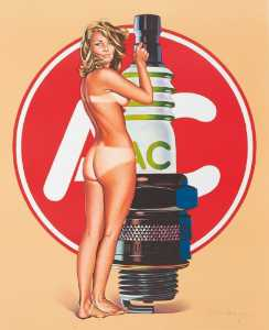 AC Delco Spark Plug Pin Up Girl Decal