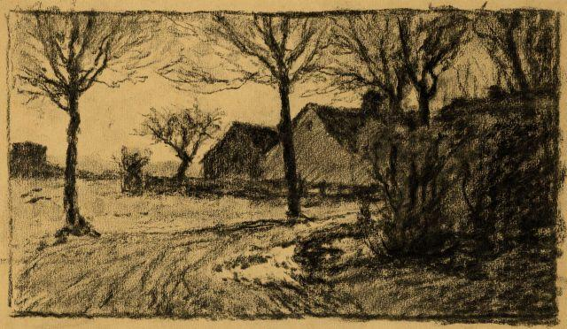 Wikioo.org - The Encyclopedia of Fine Arts - Painting, Artwork by Theodore Clement Steele - Untitled drawing of lane and buildings