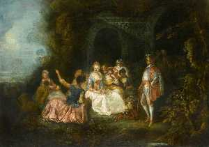 Amorous Couples in a Garden Setting