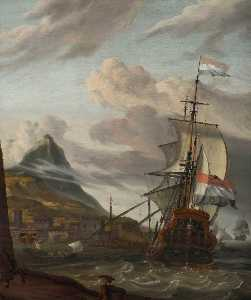 A Dutch Ship Entering a Mediterranean Port