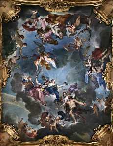 Hércules como la virtud asícomo Competencia siendo Coronado por justitia