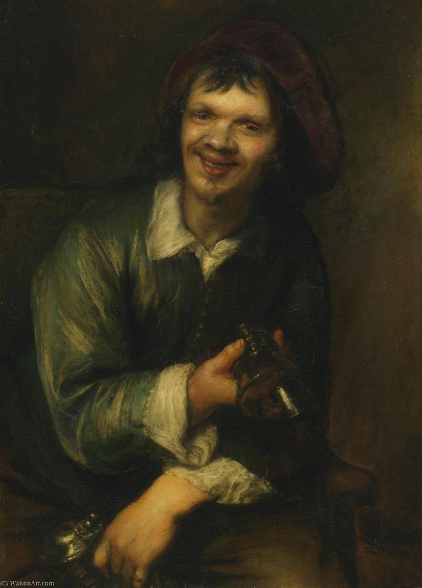 Wikioo.org - The Encyclopedia of Fine Arts - Painting, Artwork by Jan Andrea Lievens - A drinker holding a glass and a pitcher