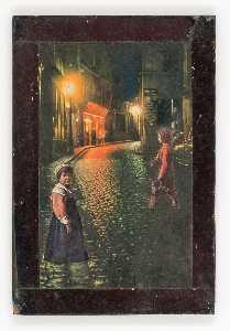 Untitled (European street at night)