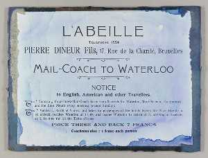 Untitled (ad for the L'Abeille mail coach to Waterloo)