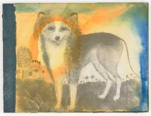 Untitled (painting of dog in landscape)
