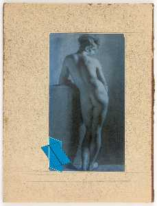 Untitled (Prud'hon drawing of standing female nude, rear view)