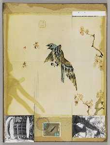 Untitled (Oriental painting of bird with cherry blossoms)