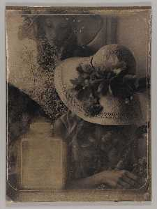 Untitled (two young women with flowers and straw hats)