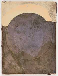 Untitled (manila paper stained brown and purple with circular stain)