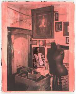 Untitled (Woman in Crocheted Vest, Painting of Napoleon, Dressmaker's Mannequin)