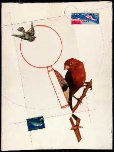 Untitled (red bird on branch)