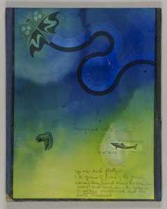 Untitled (drawing, butterfly leaving black trail)