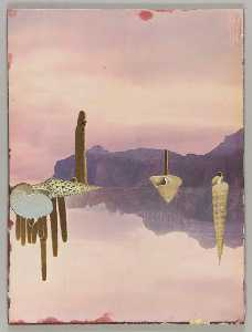 Untitled (landscape with dry mountains and cacti with mirror image )