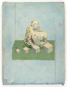 Untitled (Chinese Porcelain of seated man and urn)