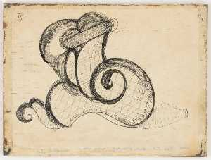 Untitled (black ink, snail shaped doodle on typing paper)