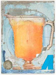 Untitled (glass pitcher, embossed with female figure, filled with orange liquid)