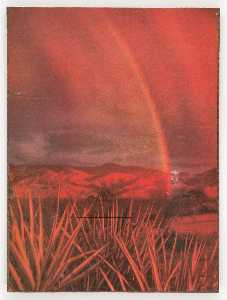 Untitled (rainbow over plains and mountains with yucca plants)