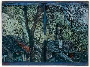 Untitled (Slate roofed Stone Cottages and Church Tower)