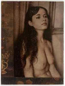 Untitled (seated nude with long brunette hair)