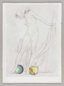 Untitled (standing nude female with kerchief)