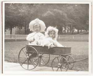 Untitled (Joseph Cornell and sister Elizabeth in wagon)