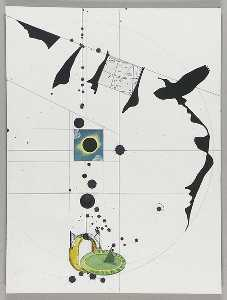Untitled (black paper cutouts of silhouette of bird in flight)
