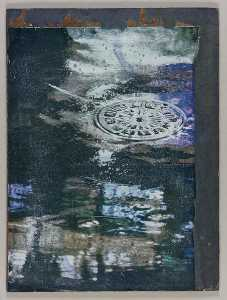 Untitled (rainy street with sewer cover)
