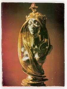 Untitled (silver and gold female bust with semi precious stone by Mucha)