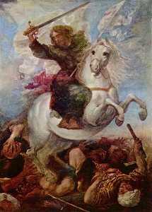 Deutsch Sieg des Hl. Apostels Jakob über die Mauren Español Santiago en la batalla de Clavijo