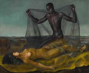 Homme noir et femme singe