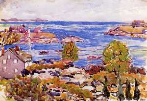 House with Flag in the Cove