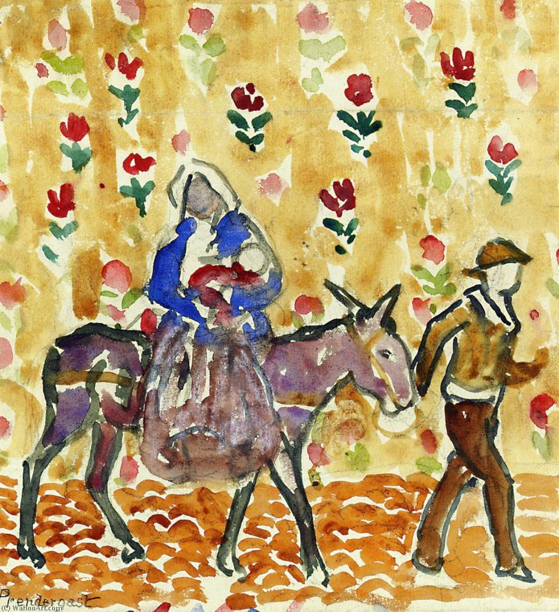 Wikioo.org - The Encyclopedia of Fine Arts - Painting, Artwork by Maurice Brazil Prendergast - Flight into Egypt