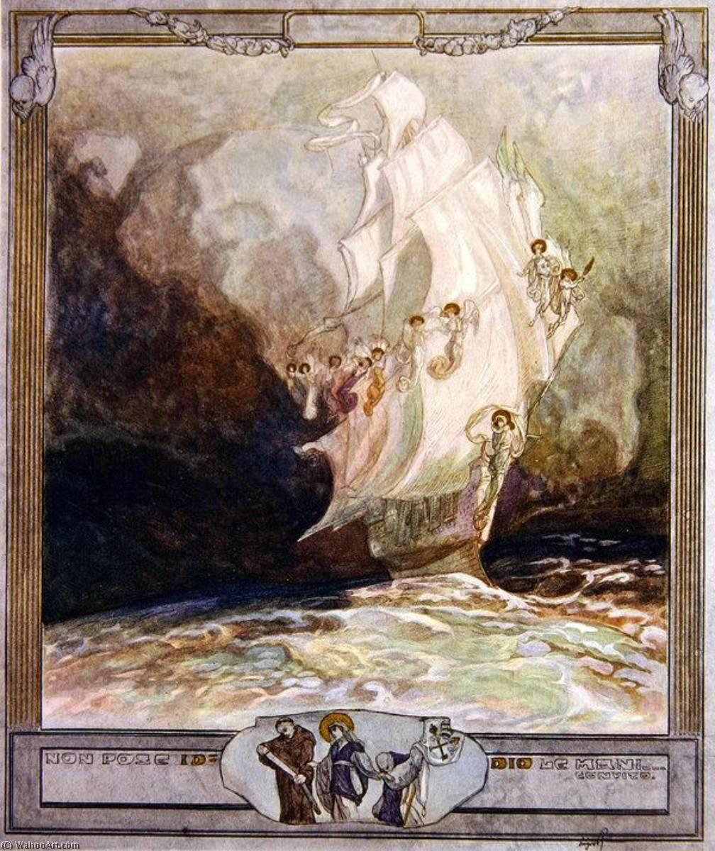 WikiOO.org – 美術百科全書 - 繪畫,作品 Franz Von Bayros - 插图 从 Dante's 'Divine Comedy' , 天堂 , 颂歌 二十七