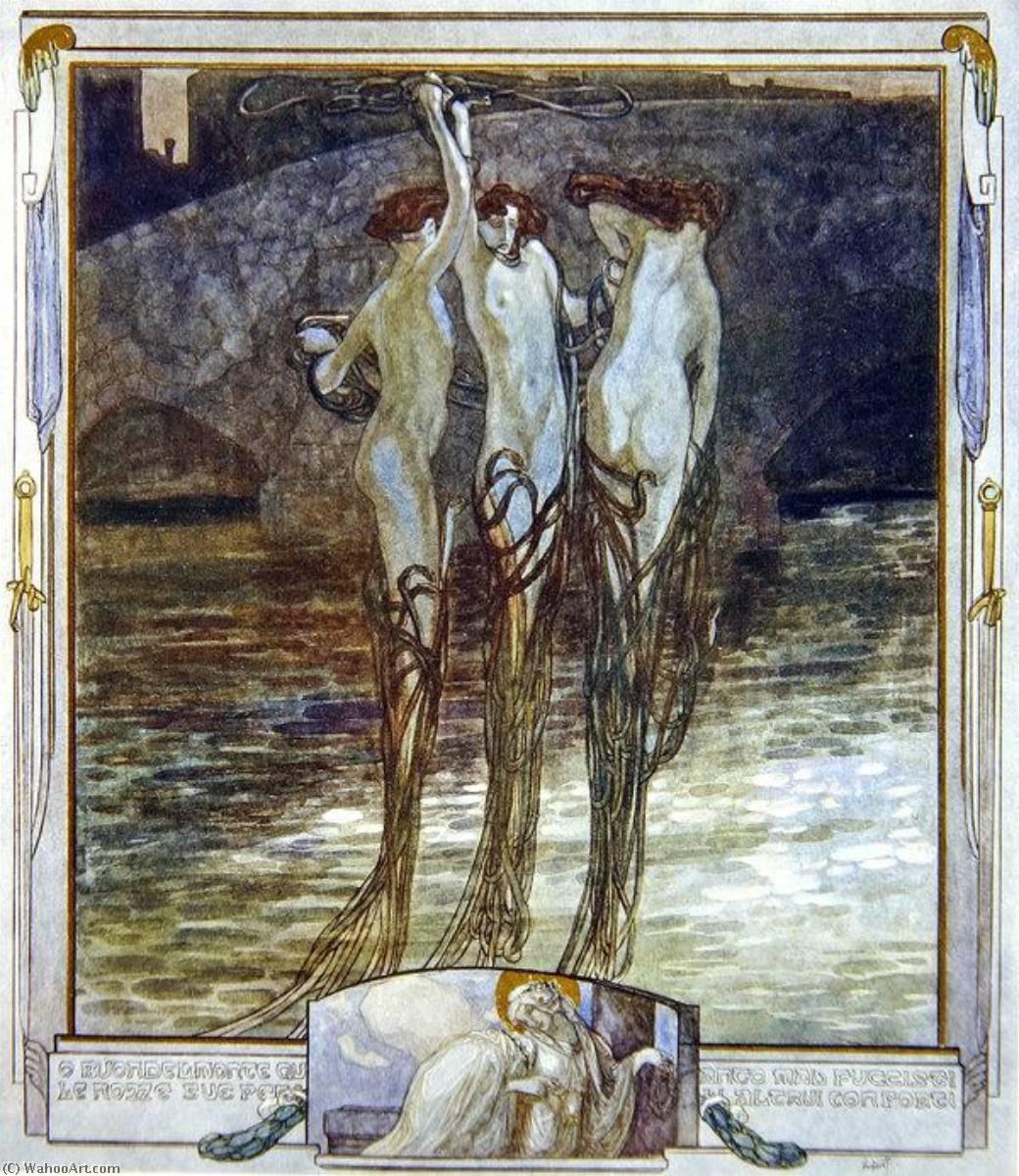 WikiOO.org – 美術百科全書 - 繪畫,作品 Franz Von Bayros - 插图 从 Dante's 'Divine Comedy' , 天堂 , 第十六坎托