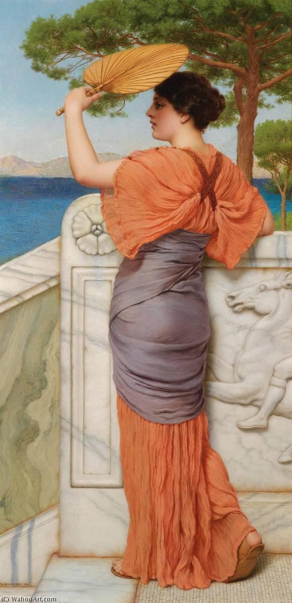 Wikioo.org – La Enciclopedia de las Bellas Artes - Pintura, Obras de arte de John William Godward - En El Balcón