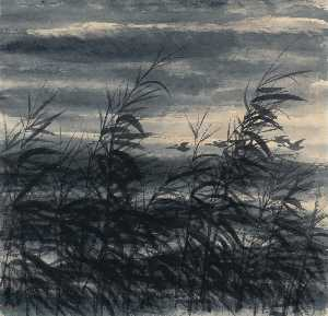 WILD GEESE OVER REEDS
