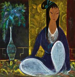 SEATED LADY WITH FLOWERS