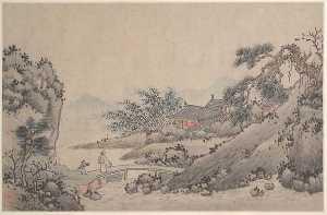 Landscape with Man Crossing Bridge