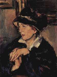 German Porträt einer Dame mit dunklem Hut