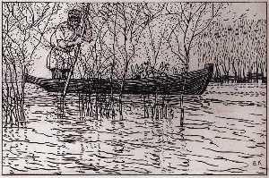 An Illustration for Nikolai Nekrasov's Poem Grandpa Mazai and Hares