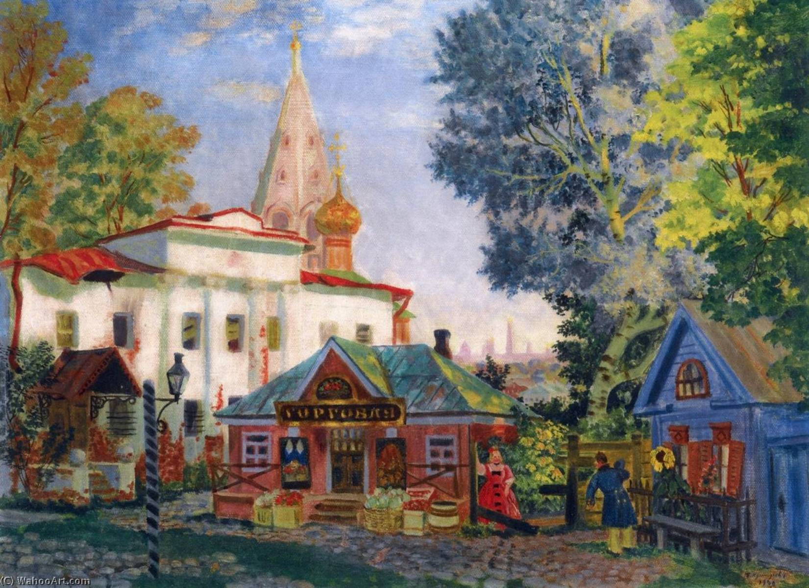 Wikioo.org - The Encyclopedia of Fine Arts - Painting, Artwork by Boris Mikhaylovich Kustodiev - In the Provinces