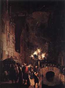 Celebration by Torchlight on the Oude Delft