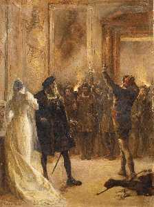 Estudio para Acto Tercero, Escena Tres del Hernani de Victor Hugo - Arturo Michelena